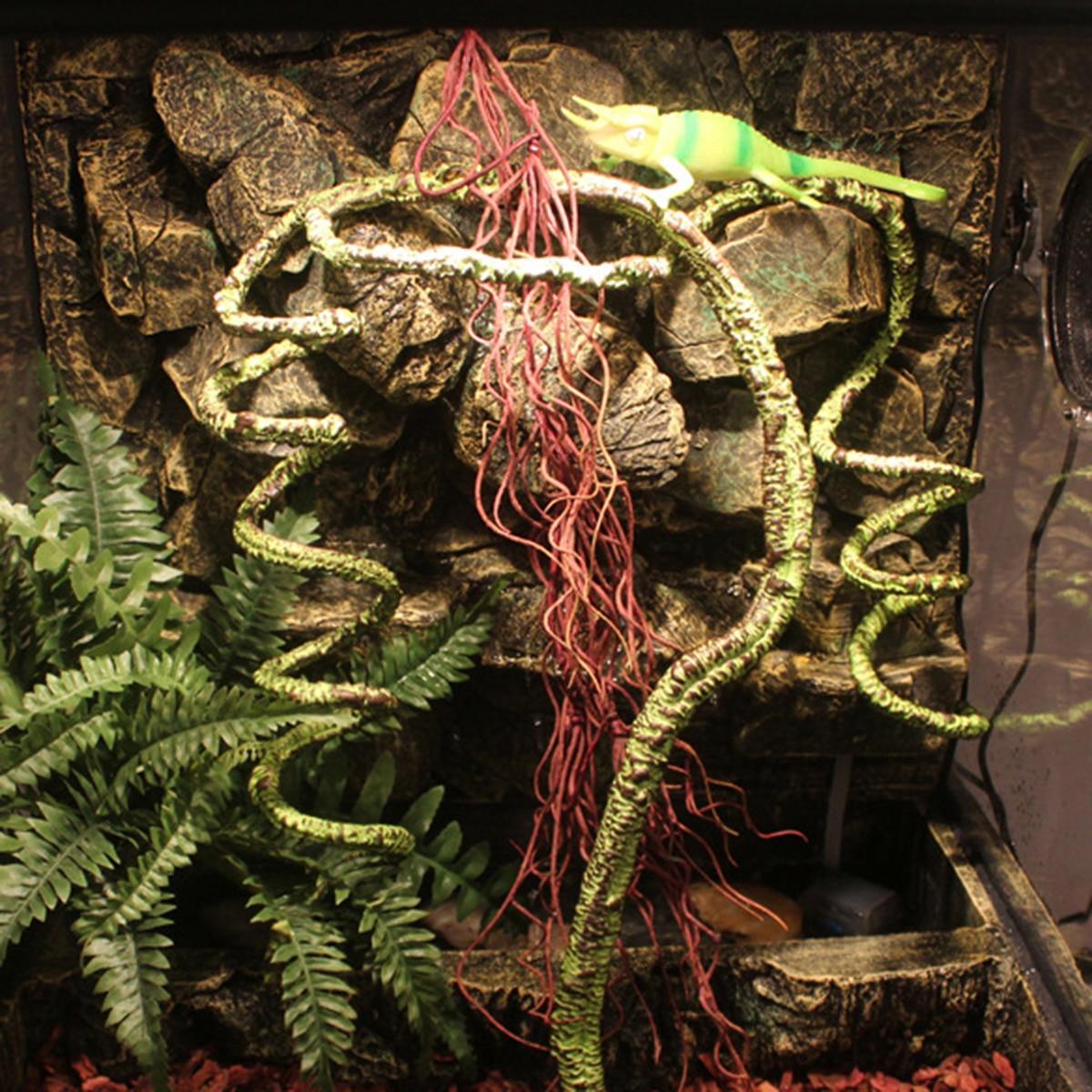 Green Reptiles Vine Lizard Climber Jungle Forest Artificial Branch 155/195cm Terrarium Cage Reptiles Habitat Decoration Supplies