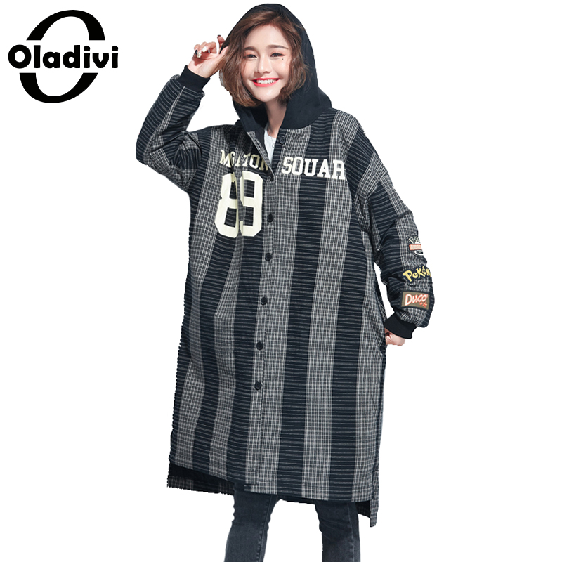 Oladivi Oversized Plus Size Women Casual Loose Warm Hooded Jacket Ladies Long Tops Parkas Female Plaid Overcoat Girl Outerwear