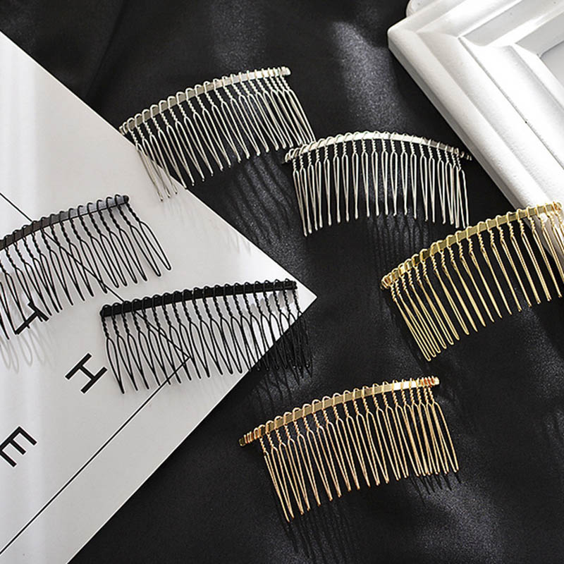 10pcs Curved Hair Combs Rhodium/Gold Color Hair Base Accessories For Diy Jewelry Making Bridal Wedding Head Decoration Findings