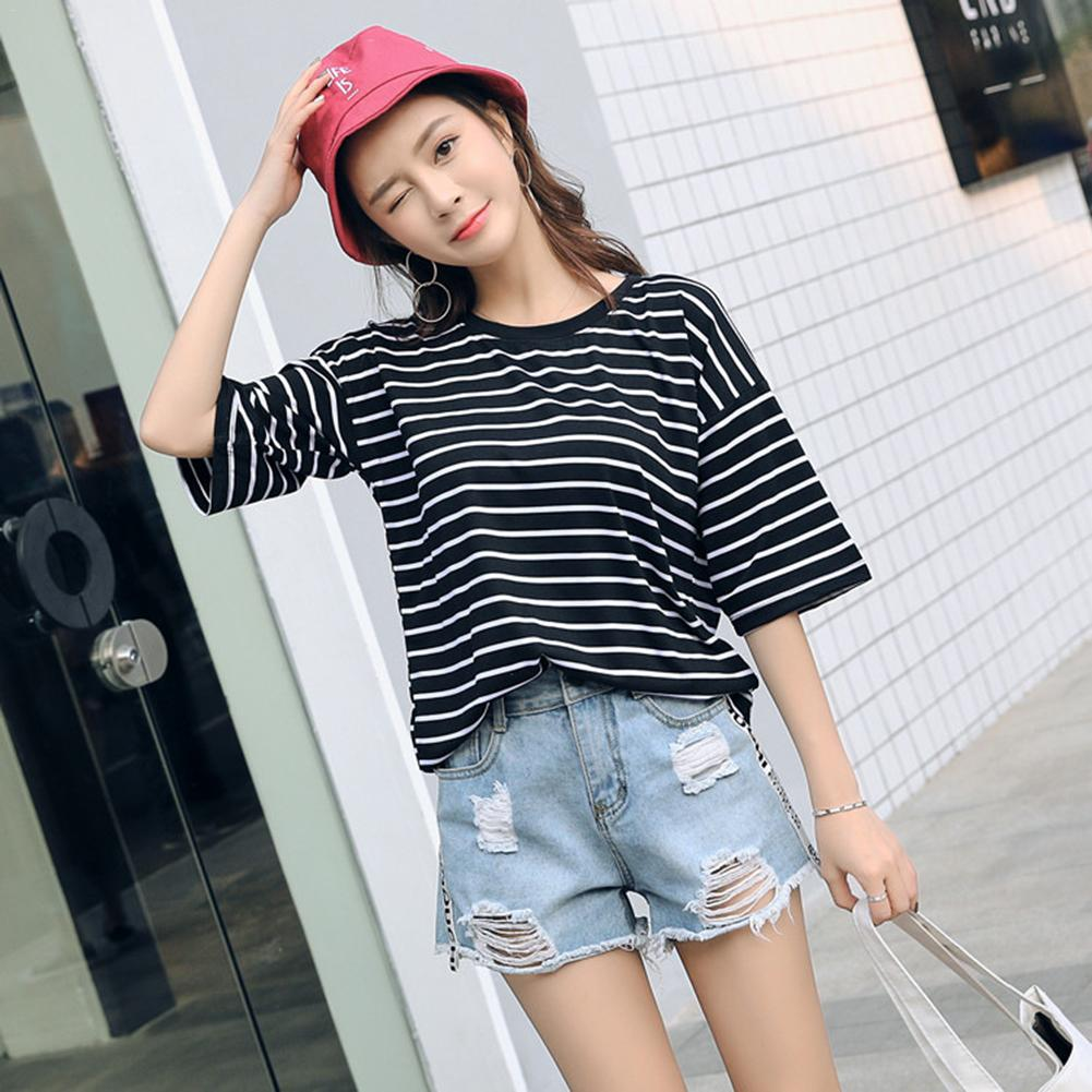 Woman Korean Style Loose Half Sleeves Students T-shirt Black And White Striped T-shirts Classic Bottom T-shirts Colorful Top Tee
