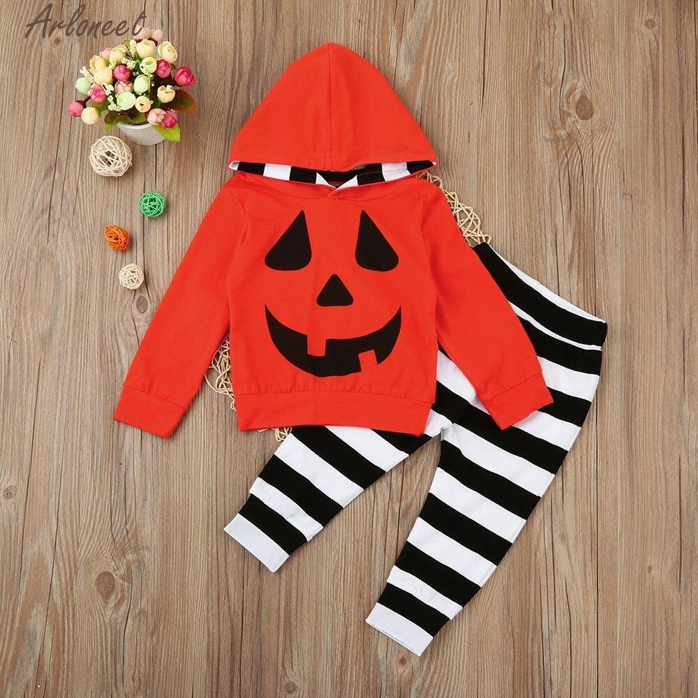 Infant Baby Boy Girls Pumpkin Hooded Blouse +Stripe Pants Halloween Outfits Set