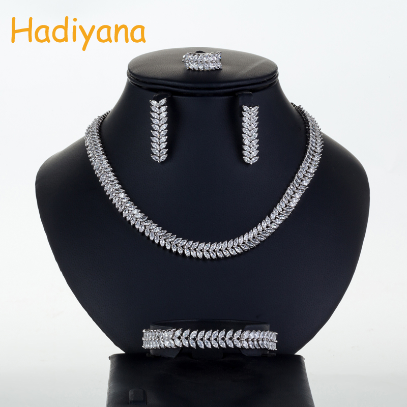 Hadiyana Luxury Bridal Wedding Jewelry Sets For Women New Sparkling AAA Zircon Paved 4pcs Set jewellery Anniversary Party CN029-in Jewelry Sets from Jewelry & Accessories    1
