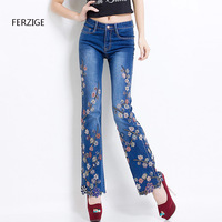 Women Embroidered Beaded Jeans Rhinestone Bell Bottom Flared Pants Elasticity Luxury Sexy Ladies High Waist Push Up Female Jeans 21