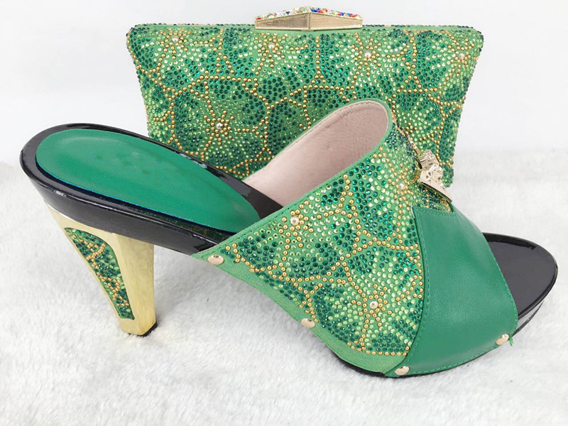 2017 New coming African Italian shoes and bags to match shoes with bag set green 2017 new coming italian fashion black ab