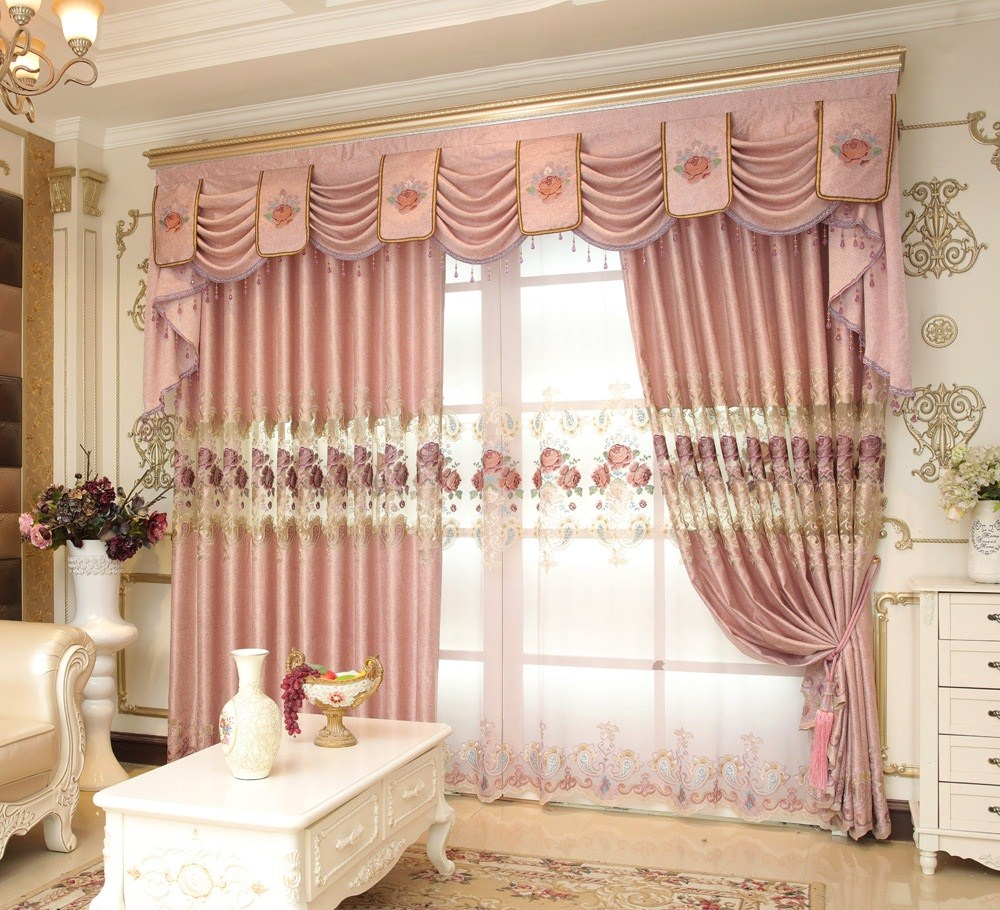 FYFUYOUFY Best seller European style embroidered curtain Retro court Hollow carved curtain living room Shading cloth curtain