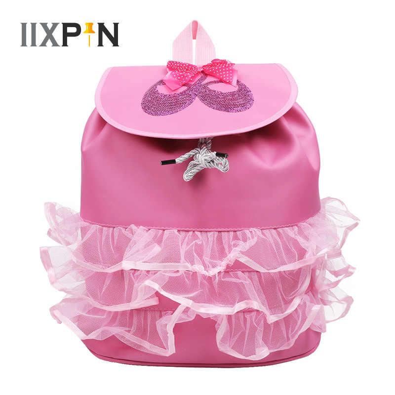 IIXPIN/Детская сумка для балета для девочек; блестящая балетная обувь с блестками; сетчатый рюкзак с оборками для школьников