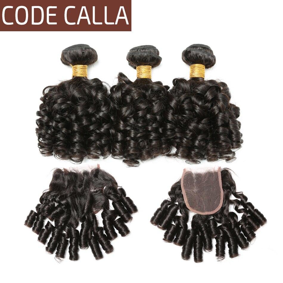 Code Calla Bouncy Lockige Bundles Mit Verschluss Brasilianische Haarwebart Raw Virgin Bundles Mit Spitze Verschluss 100% Menschliches Haar Verlängerung Profitieren Sie Klein Salonpackung-haarbündel
