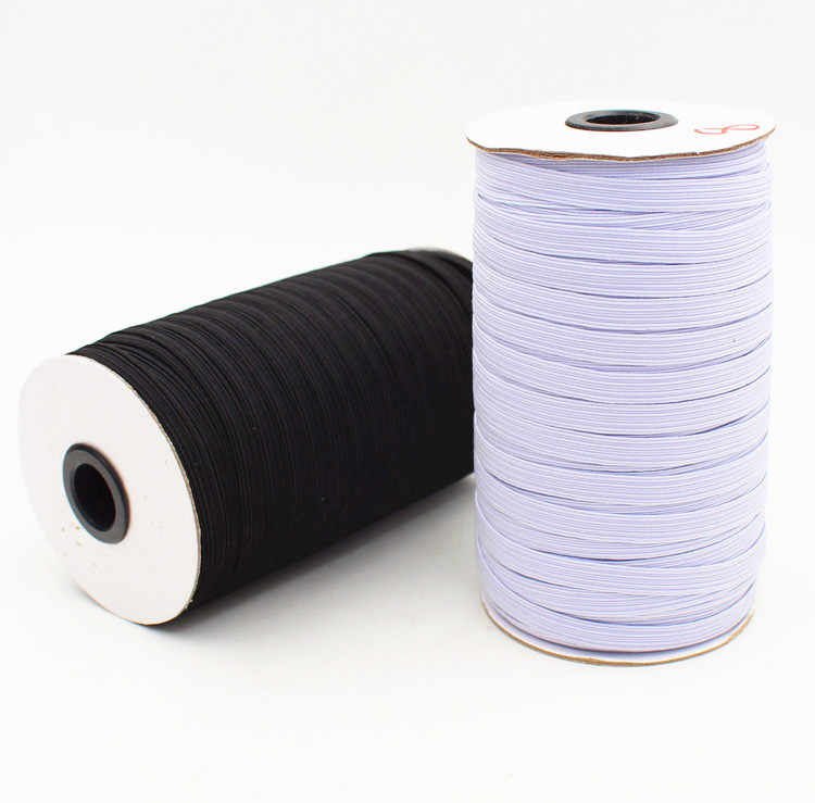 3mm-9mm Width Stretch Webbing DIY Elastic Ribbon Band For Sewing White/Black Color 10Meters/lot