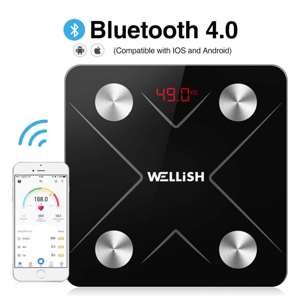 Bluetooth Body Fat Scale Floor Digital Wireless Scientific Smart Electronic LED Backlit USB Charge Weight Bathroom