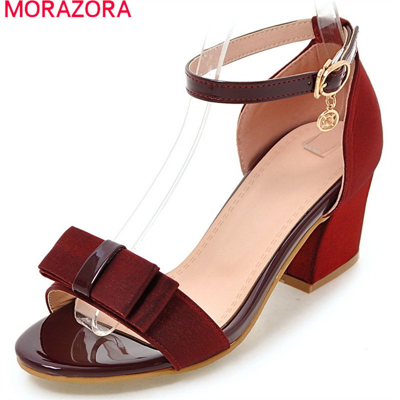 MORAZORA sweet 2018 summer female shoes with butterfly knot buckle high heels square heel solid cover heel women sandals