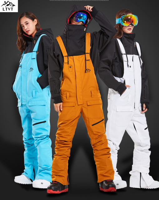 LTVT Single Board Female Double Snowboard Bib Waterproof Black Ski Winter Ski Indoor Ski Suspenders New Snow Women Ski Pants