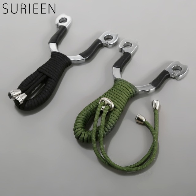 2788ca7ab SURIEEN Green/Black Small Pocket Zinc Alloy +Polyester Rope Catapult  Slingshot Outdoor Sports Hunting Mini Sling Shot Shooting
