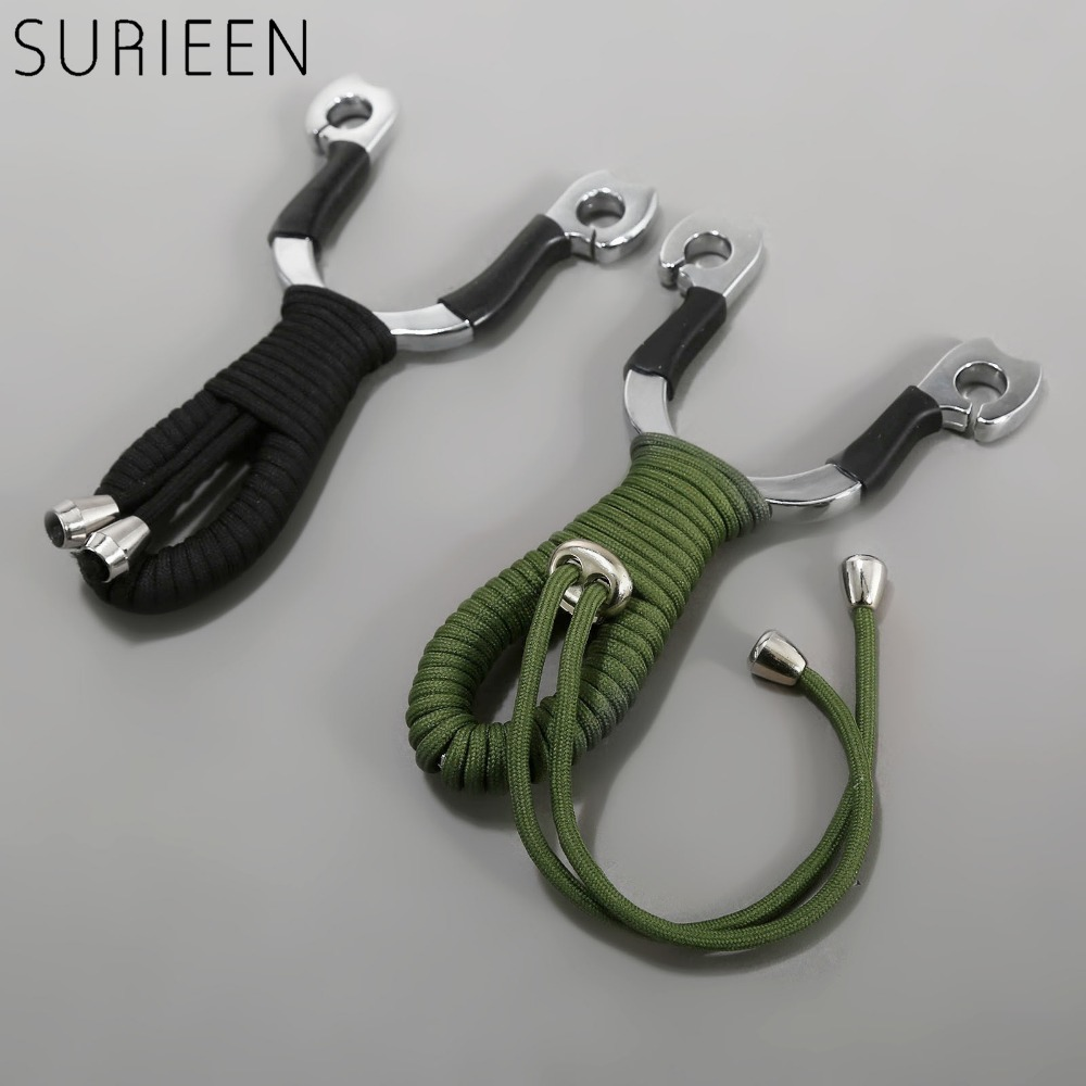 SURIEEN Green/Black Small Pocket Zinc Alloy +Polyester Rope Catapult Slingshot Outdoor Sports Hunting Mini Sling Shot Shooting