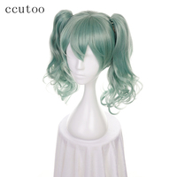 ccutoo Vocaloid Miku Green Short Curly Synthetic Wig With Double Chip Removable Ponytails Cosplay Costume Wigs Heat Resistance
