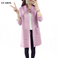 Women Korean Open Stitch Cardigan Brief Design High Quality Soft Handle Knitting Coat Spring Autumn Winter