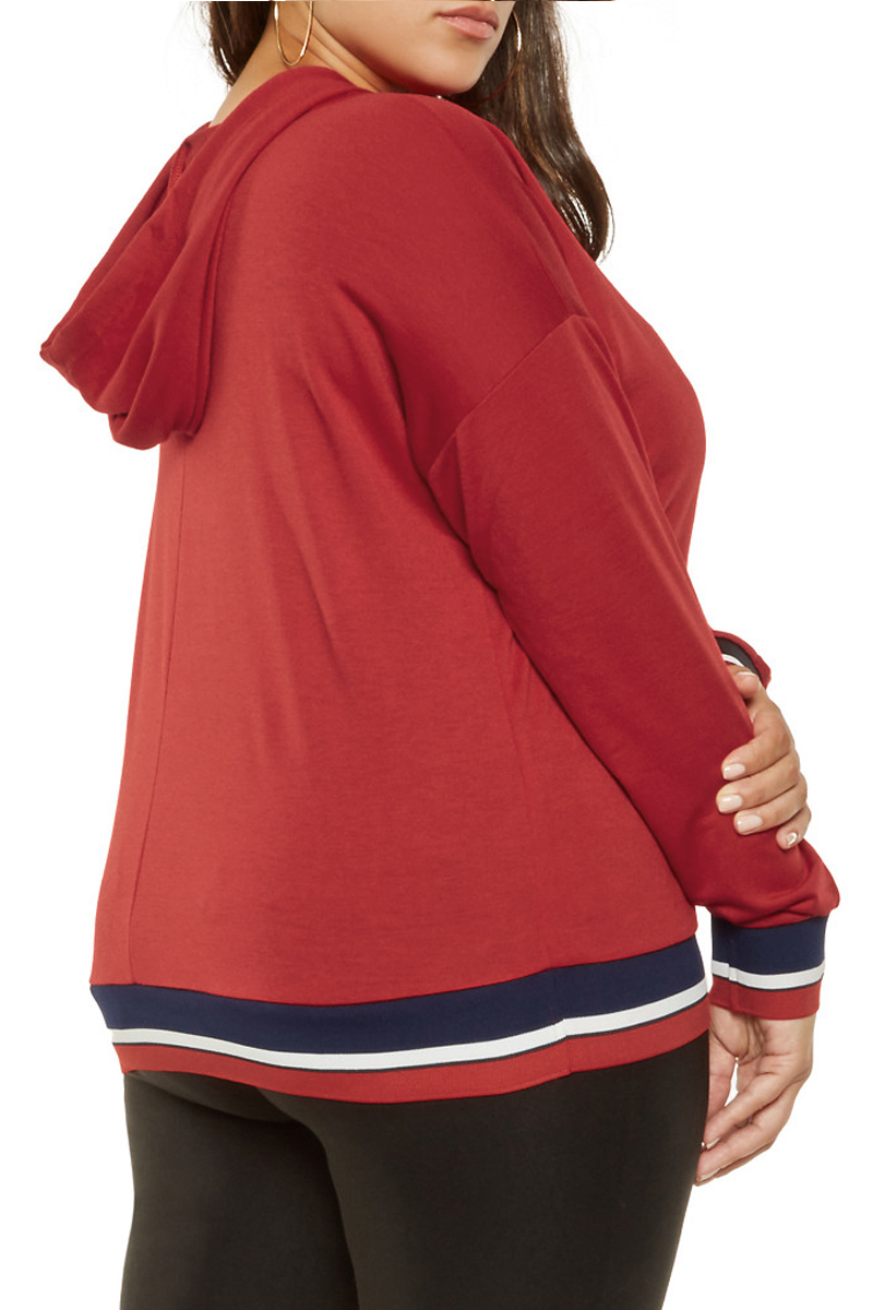 Tricolor-Striped-Trim-Red-Plus-Size-Hoodie-LC251541-3-2