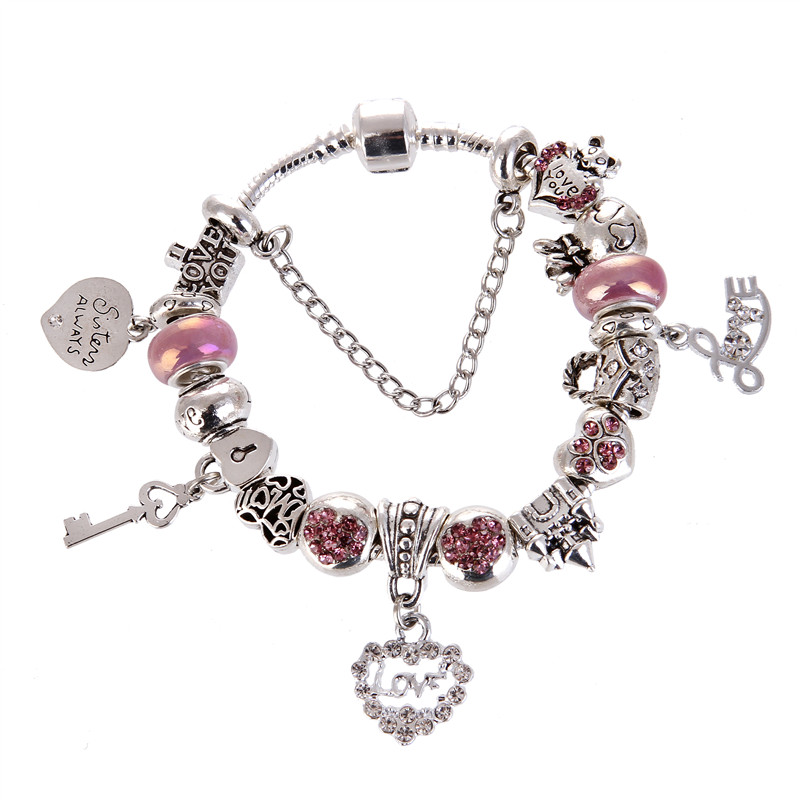 High Quality Pink crystal Rhinestone Bead Heart&LOVE Pendant Charms Noble Pretty Pandora Bracelet For Women/Gril gift jewelry
