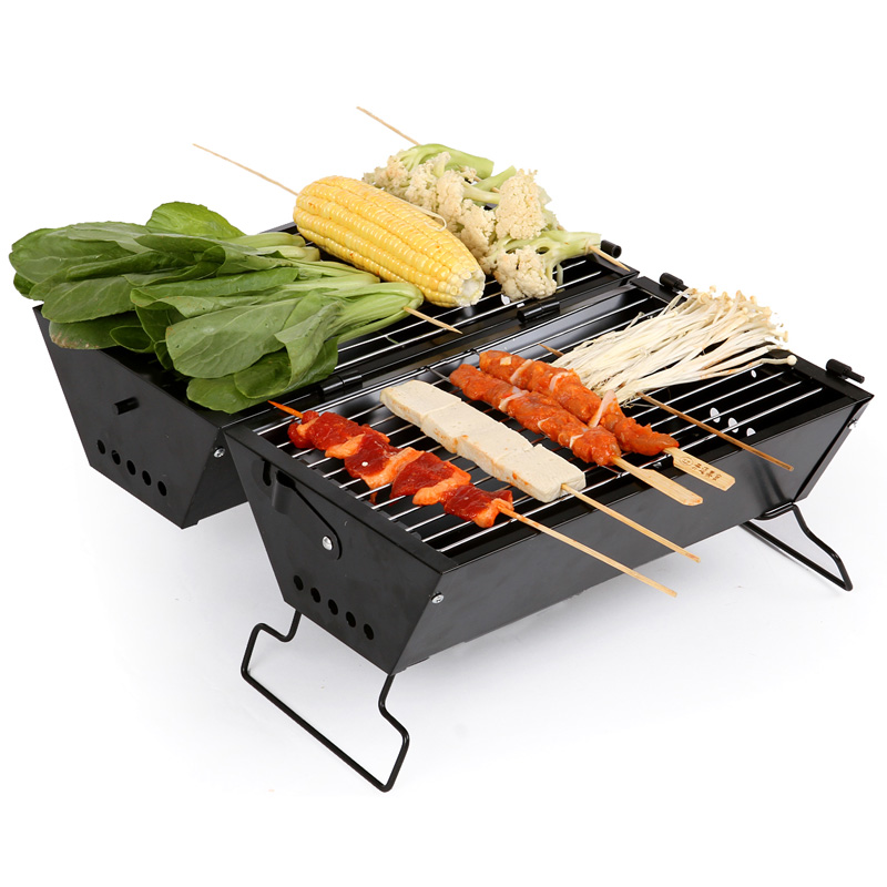Outdoor Stainless Steel BBQ Oven Camping Cookware High Temperature Resistance Rolled Steel Stoving Varnish Folding Box type BBQ