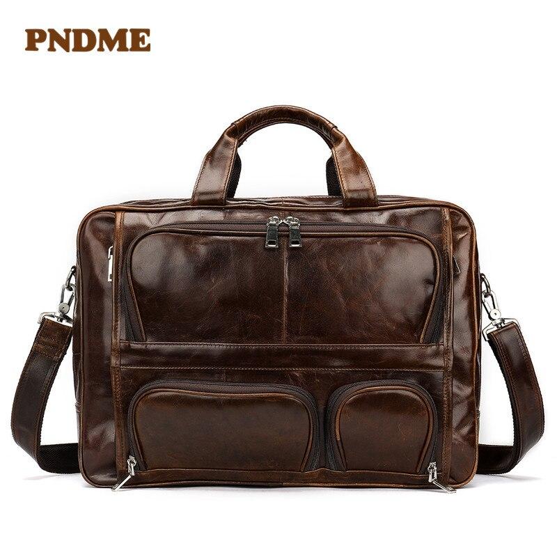 High Quality Large Capacity Leather Men's Bag Oilskin Vintage Men's Tote Leather Business Briefcase Single Shoulder Bag