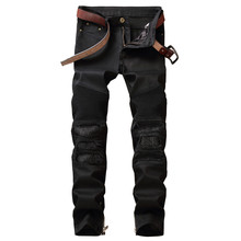 Biepa New Men's Ripped Motorcycle Denim Pants Man Leather Patchwork Biker Jeans Slim Fit Straight Washed Black Size 29-38(China)