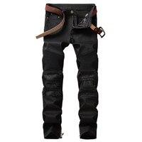 Biepa dei Nuovi Uomini Strappato Moto Denim Pantaloni Uomo Patchwork In Pelle Biker Jeans Slim Fit Etero Lavato Nero Taglia 29-38