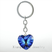 Elegant charming Blue Butterfly heart pendant key chain ring vintage hope charm insect women jewelry keychain wedding gift HP111
