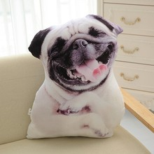 CAMMITEVER 3D Cute Dog Cushion Toy Simulation Animal Pillow Plush Printed Dog Cute Pillow Cushion