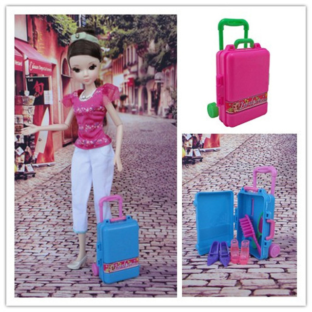 Plastic Open Luggage Bag Trunk Carrying Storage Organizer For 1/6 Blythe  For Barbie Dollu0027s