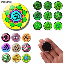 Yoga OM Glass Cabochon Fridge Magnet Souvenir Luminous Magnetic Refrigerator Magnets Whiteboard Message Sticker Home Decoration