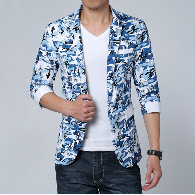 2016 Mens Floral Print Blazer Jaqueta Masculina Big Men Short Sleeved Suits Half Sleeve Summer Jacket Plus Size M-4XL 5XL 6XL