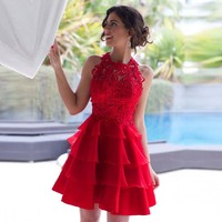 Red Homecoming Dress Short Prom Dresses Cheap Lace Tiered Sexy Mini Cocktail Dresses Vestido de Formatura Custom Made