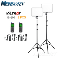 VILTROX 2PCS VL 200 LED Light 3200 5500K+DC Power+2M Light Stand for Video Studio Canon Nikon Sony Fuji Pentax Olympus