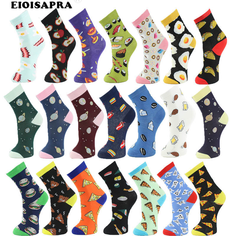 Women   Socks   Lot Combed Cotton Lovely Cartoon Creative Fruit Pizza Burgers Planet Happy   Socks   Women Funny Calcetines Mujer Sox