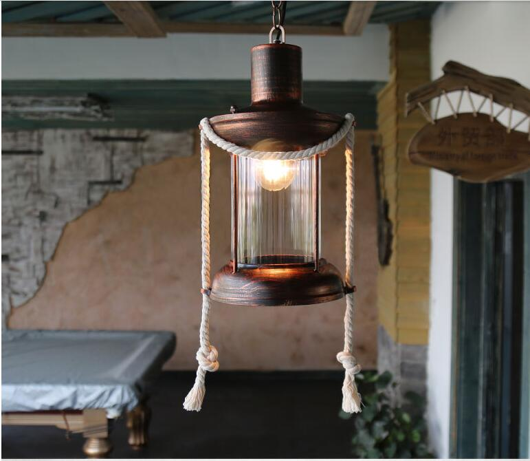 Vintage loft rope pendant lights Cafe Americano hall bar project creative studio aisle small decorated pendant amp ZA72611