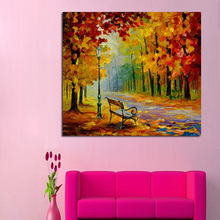Decorative Canvas Oil Painting Beautiful Autumn Forest Street Wall Art Modern Knife Home Decor No Frame