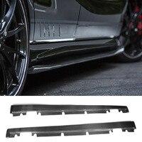 Углеродного волокна сбоку юбки фартук спойлер для Mercedes Benz W176 класс A160 A180 A200 A250 A45 и CLA W117 CLA180 CLA45 AMG 13 17