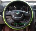 Tampa da roda de Direcção do carro universal com couro do plutônio do pvc 36/38mm verde fashinable para volante-volante carro roda-cobre