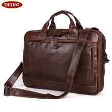 Vintage Men's Briefcase Business Handbag Genuine Cow Leather Double Compartments Big Capacity Fit Up For 15 Inch Laptop PR097005