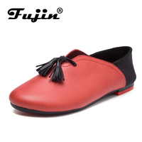 2017 Spring Brand Lace UP Woman Flat Shoes Genuine Leather 7 Colors Slip On Flats Round