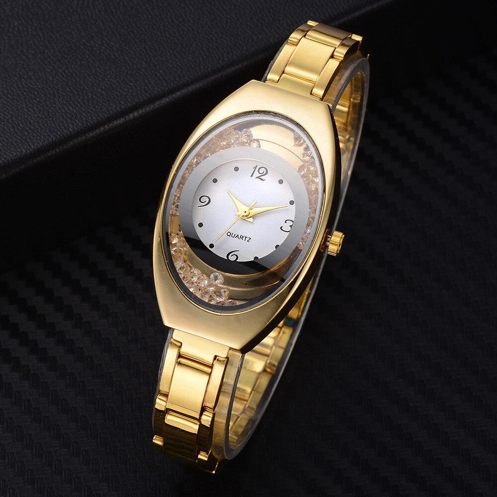b6319223d Reloj هومبر أعلى العلامة التجارية الفاخرة الصلب الصغيرة الساعات فساتين  راقية ساعة كوارتز كريستال السيدات المعصم