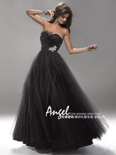 cheap free shipping robe de soiree 2014 new fashion party gown tulle feather vestido festa crystal prom dresses ball