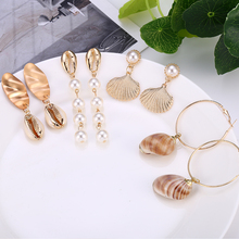 Vintage Gold Dangle Earrings For Women Imitation Pearl Sea Shell Drop Earring Bohemian Beach Brincos 2019 Fashion Jewelry