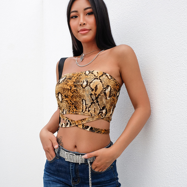 a98c0f198e2af5 7mang 2019 Snake Skin Top Bandeau Bustier Sexy Strapless Boob Tube Tops  Hollow Out Sleeveless Backless Crop Top Women 1224