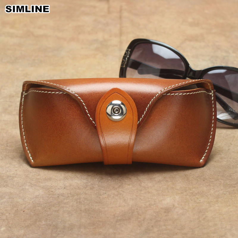 Handmade Vintage Eyeglasses Box Hard Genuine Leather Luxury Spectacle Glasses Bag Case Eyewear Sunglasses Holder Cover Men Women pure titanium eyeglasses metal full rim optical frame prescription spectacle contrast color glasses for men eye glasses new 5813