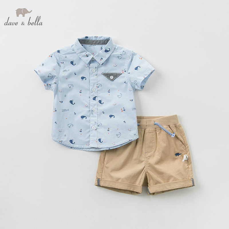 DBW10399 dave bella summer baby boy clothes children clothing sets infant toddler high quality tops shorts