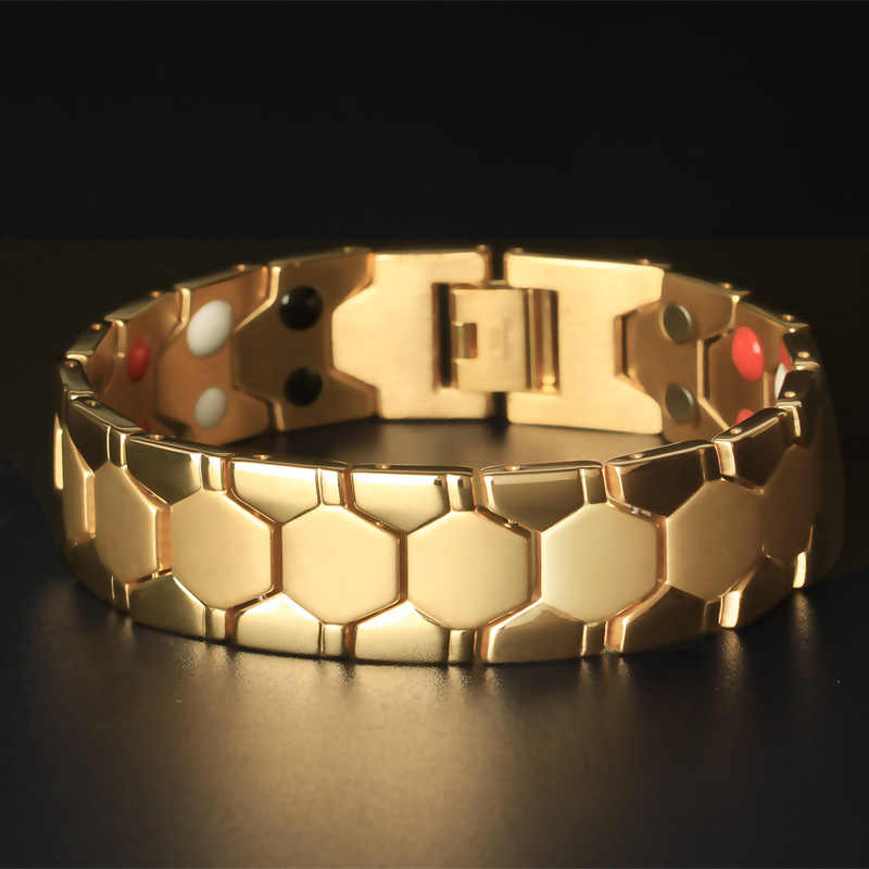 bb35067b461fe TrustyLan 18MM Wide Health Magnet Bracelet Indian Men Jewelry Gold ...
