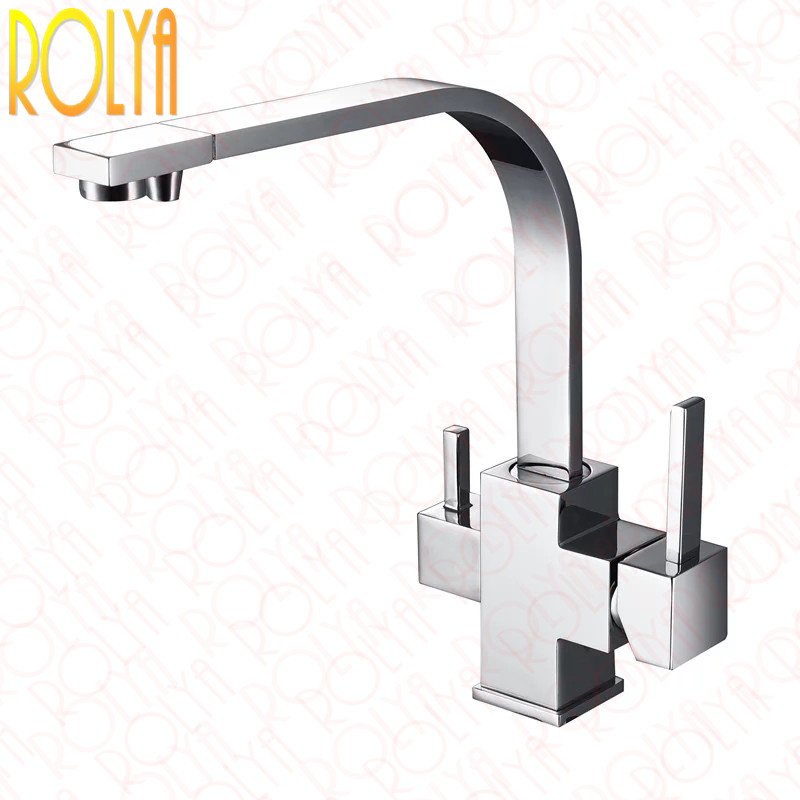 Rolya Cubix Reverse Osmosis 3 way water filter taps Solid Brass Construction Tri Flow Kitchen Faucet Chrome