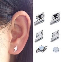 3 pairs/pack lightning Magnet stud earring Non Piercing Clip on
