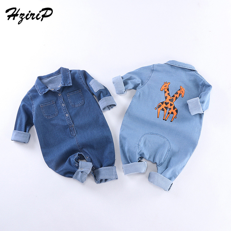 HziriP 2018 Summer Baby Bodysuits Summer Denim Animal Printing Longsleeves Jumpsuit Neonatal Crawling Baby Boys Girls Bodysuits