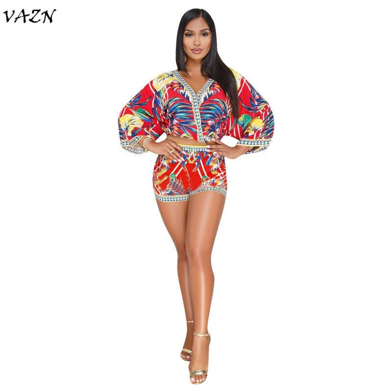 VAZN 2018 New Arrive Famous Brand Casual Beach Style 2 Piece Women Set Print V-neck Full Sleeve Short Pants Bodycon Set Q087